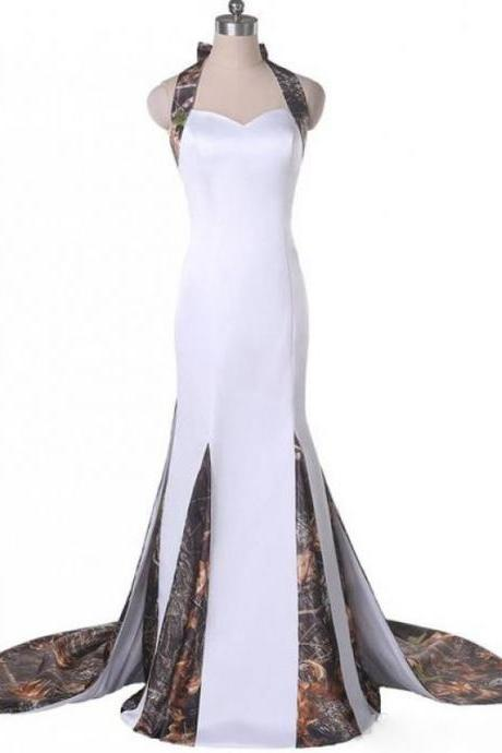 Halter Neck Camouflage Wedding Dresses Mermaid Bodice Zipper Back Hand-made Flowers Detachable Train Camo Bridal Dresses